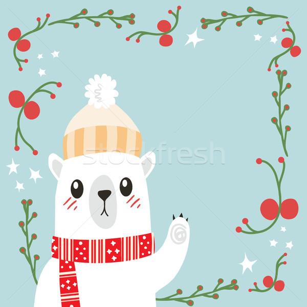 Beer christmas cute illustratie poot Stockfoto © Kakigori