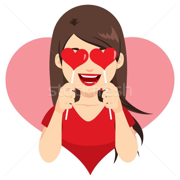 Valentijn hart lolly mooie jonge brunette Stockfoto © Kakigori