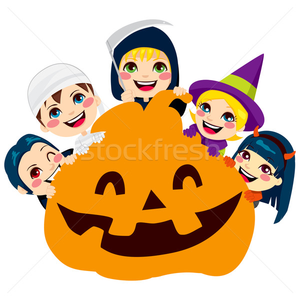 Halloween tök gyerekek öt aranyos ijesztő szörny Stock fotó © Kakigori