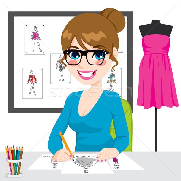 Fashion Designer Drawing Sketches Stock photo © Kakigori