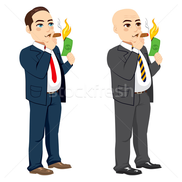 ビジネスマン 照明 シガー 2 異なる 豊富な ストックフォト © Kakigori