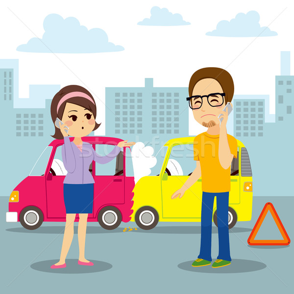 Voiture collision rapport homme femme appelant Photo stock © Kakigori