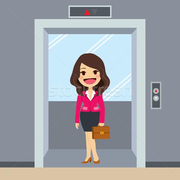 エレベーター 女性実業家 小さな 幸せ オフィス ビジネス ストックフォト © Kakigori