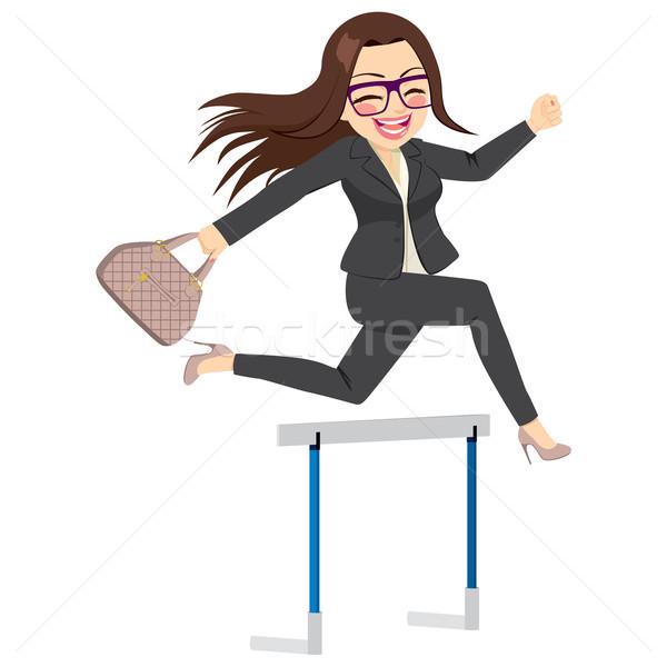 Imprenditrice jumping felice di successo difficoltà business Foto d'archivio © Kakigori