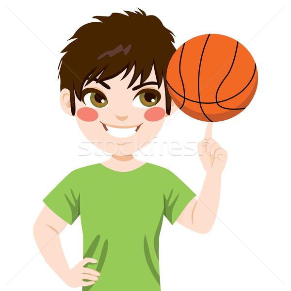 Basketball Junge Ball Finger glücklich Stock foto © Kakigori