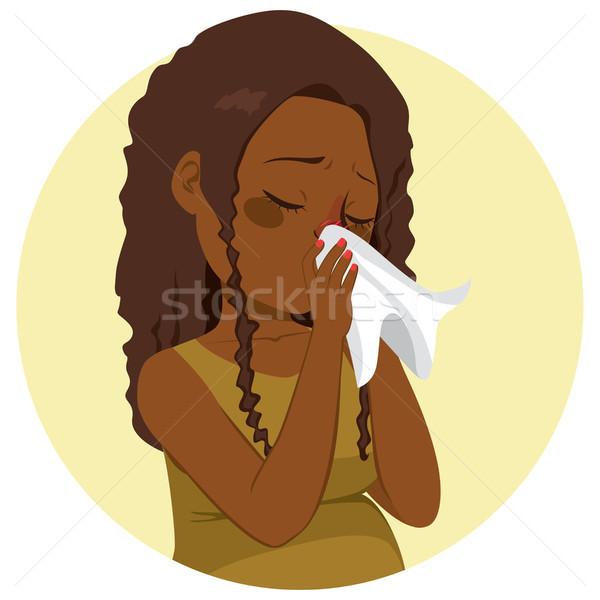 беременна грипп женщину сморкании молодые африканских Сток-фото © Kakigori
