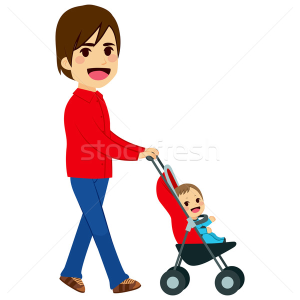 Single Father Pushing Stroller Stock photo © Kakigori