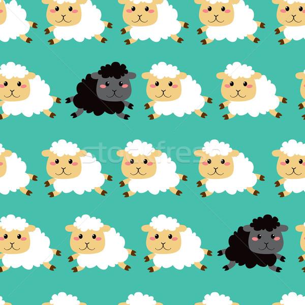 Black And White Sheep Pattern Stock photo © Kakigori