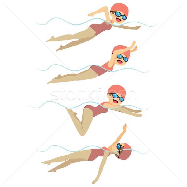 плаванию женщину различный Стили набор спортсмена Сток-фото © Kakigori