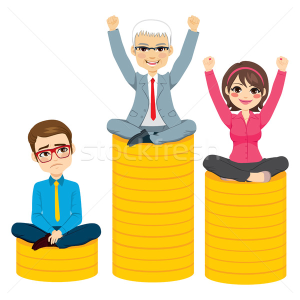Ludzi biznesu konkurencja podium starszy człowiek zwycięski Zdjęcia stock © Kakigori
