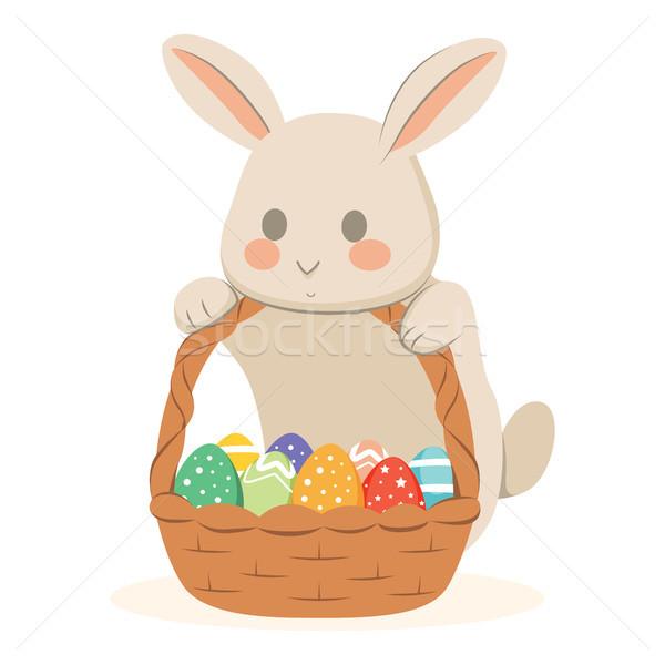 Сток-фото: Пасхальный · заяц · шоколадом · яйца · корзины · Cute · полный
