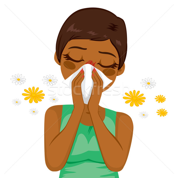 Africano americano mulher sofrimento alergia jovem doente Foto stock © Kakigori