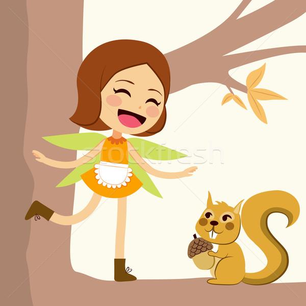 счастливым осень фея Cute Постоянный Сток-фото © Kakigori