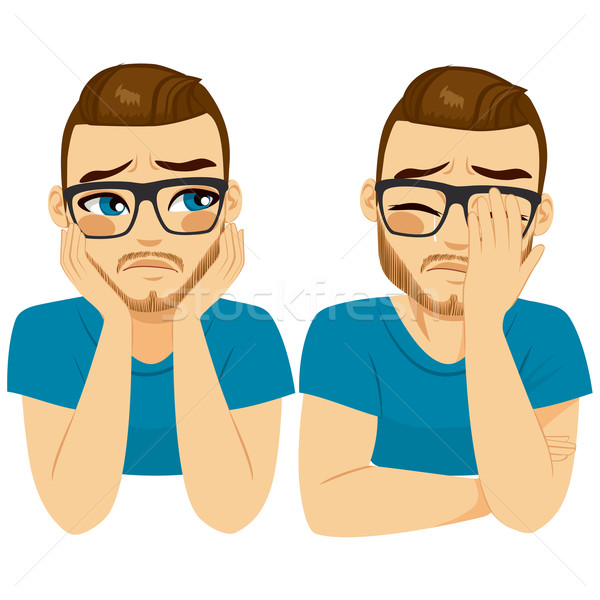 Huilen triest man jonge twee verschillend Stockfoto © Kakigori