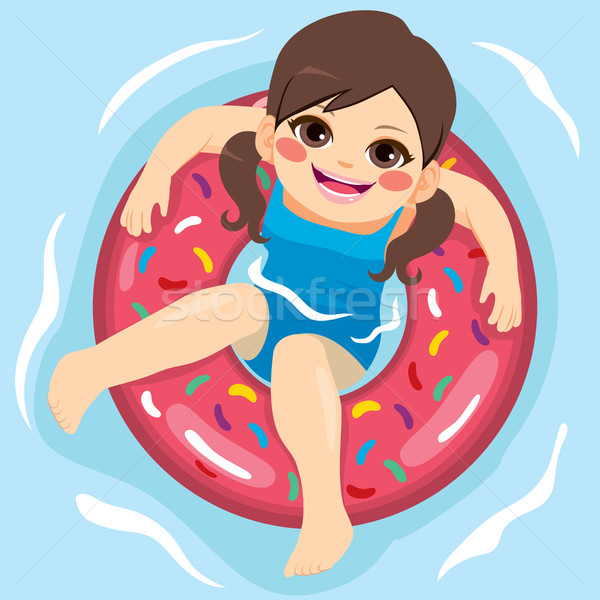 Meisje zwembad opblaasbare rubber ring Stockfoto © Kakigori