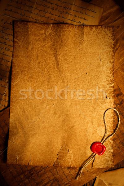 Vacío pergamino cera sello sello fondo Foto stock © kalozzolak