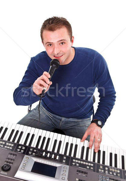 Musician plays a synthesizer Stock photo © kalozzolak