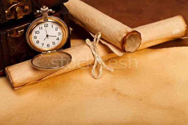 древности столе сокровище окна старой бумаги Сток-фото © kalozzolak