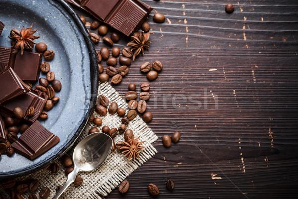 öreg tányér teáskanál csokoládé rusztikus ezüst Stock fotó © kalozzolak