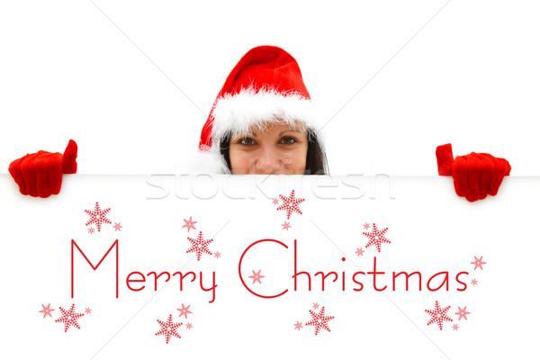 Stockfoto: Vrouwelijke · vrolijk · christmas · Rood · hoed