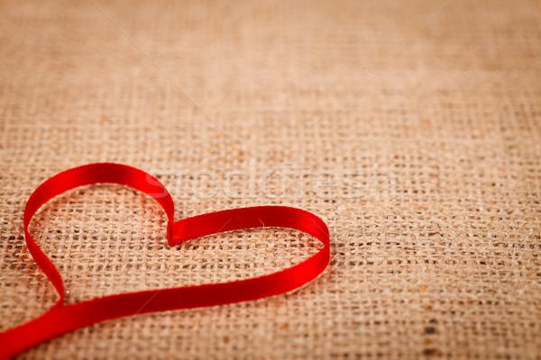 Fita coração pano de saco vermelho abstrato projeto Foto stock © kalozzolak