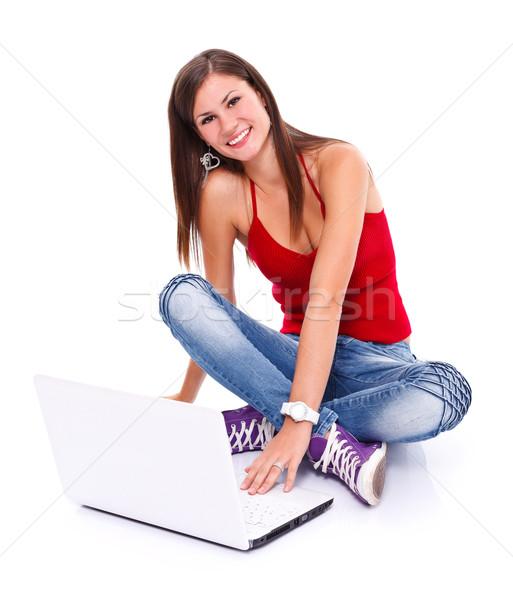 Stock fotó: Boldog · lány · laptop · kép · boldog · barátságos · fiatal · nő