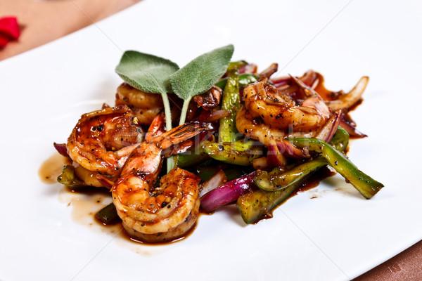 ázsiai főétel hús keverés sült fokhagyma Stock fotó © kalozzolak