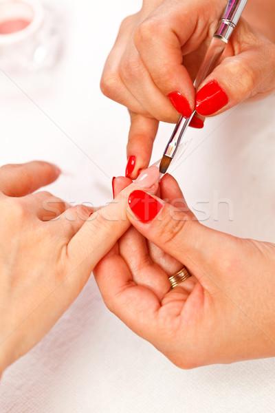 Stock fotó: Közelkép · kép · kezek · készít · mesterséges · körmök