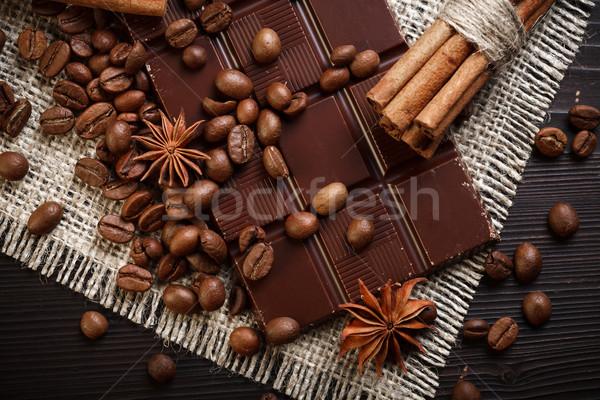 Stock fotó: Csokoládé · fűszer · csokoládé · szelet · kávé · fahéj · csillag