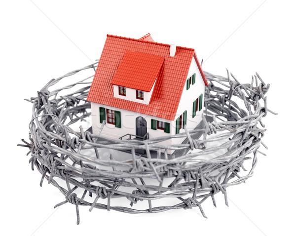 Protezione miniatura casa filo spinato home libertà Foto d'archivio © kalozzolak