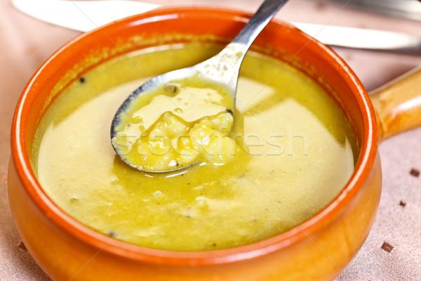 Keleti konyha leves curry lencse feketebors főtt Stock fotó © kalozzolak