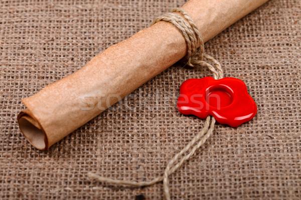 Rolar cera selar papel velho vazio vermelho Foto stock © kalozzolak