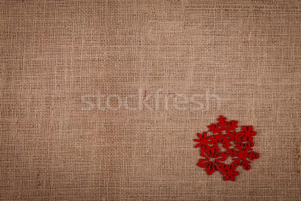 Rouge flocon de neige toile de jute ornement résumé design Photo stock © kalozzolak