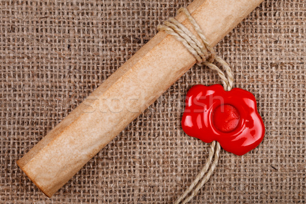 Scroll wax zegel jute papier brief Stockfoto © kalozzolak