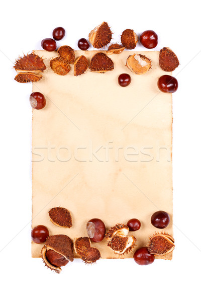 Notepaper with chestnuts Stock photo © kalozzolak