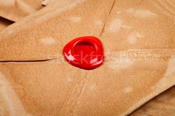 Cire sceau vieux enveloppe rouge vide Photo stock © kalozzolak