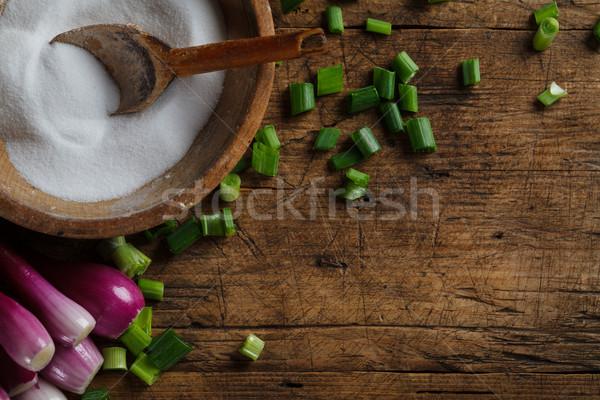 Salt storage and onions Stock photo © kalozzolak