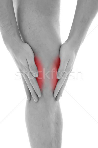 膝 痛み 若い男 両方 手のひら 周りに ストックフォト © kalozzolak