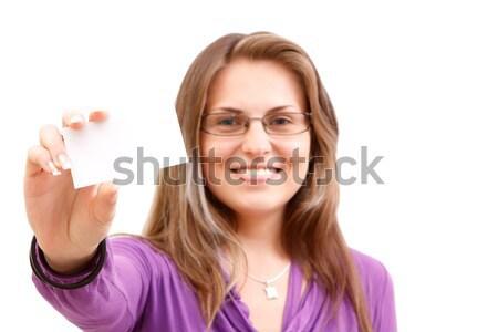 Woman with businesscard Stock photo © kalozzolak