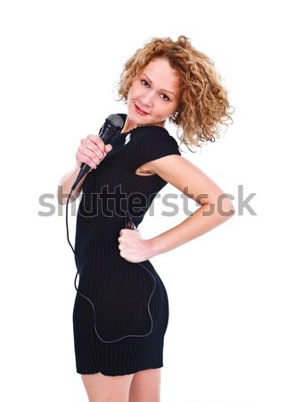 Stock photo: Posing with microphone