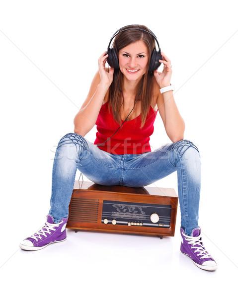 Сток-фото: студент · девушки · ретро · радио · полный · фотография