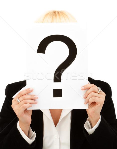 Kérdőjel közelkép üzletasszony tart fehér üzlet Stock fotó © kalozzolak