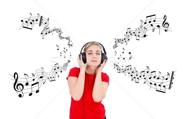 музыку время девушки прослушивании наушники музыки отмечает Сток-фото © kalozzolak
