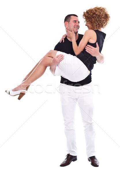 Szczęśliwy człowiek kobieta broni Zdjęcia stock © kalozzolak