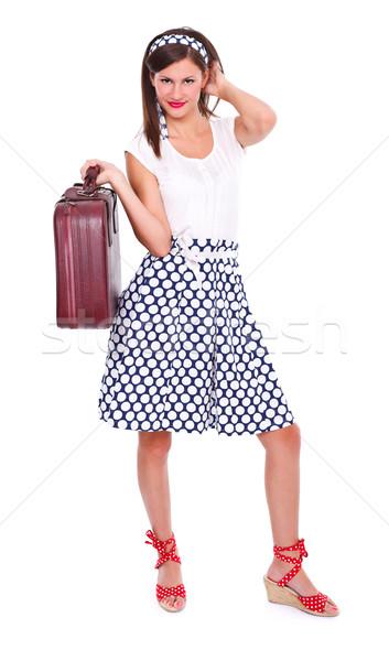 Сток-фото: женщину · чемодан · брюнетка · ретро-стиле