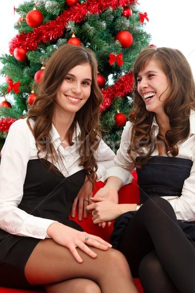 Christmas czasu dwa godny podziwu kobiet Zdjęcia stock © kalozzolak