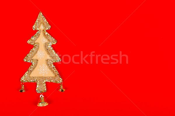 Or Noël décoration peu arbre rouge Photo stock © kalozzolak