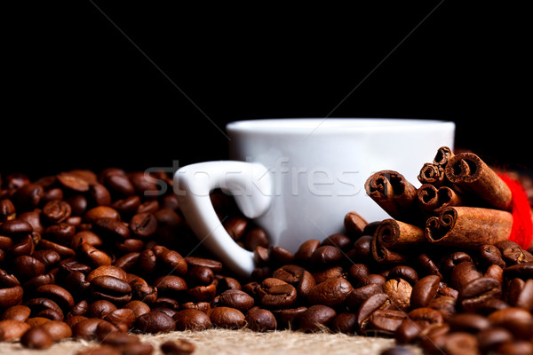 White cup with coffee and cinnamon Stock photo © kalozzolak