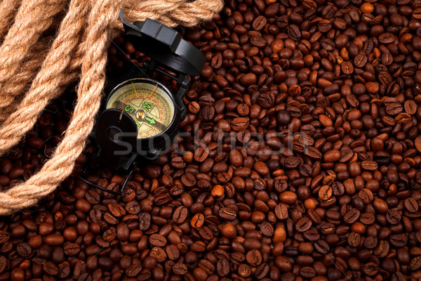 Coffee beans with compass Stock photo © kalozzolak