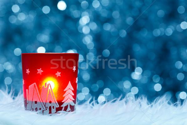 Feestelijk kandelaar Blauw christmas Rood Stockfoto © kalozzolak